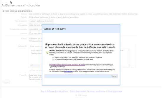 Adsense activar Feed final y ayuda