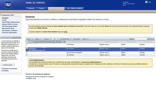 Cambio de DNS apañados.es