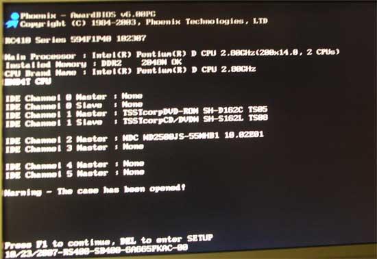 BIOS error: The case has been opened