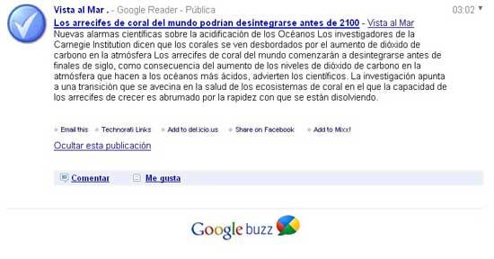 Google Buzz con URL de FeedBurner