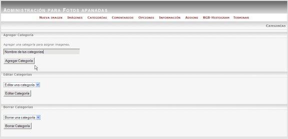 Administración pixelpost añadir categorías