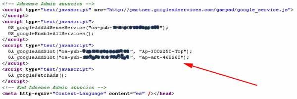Código administrador anuncios de Adsense