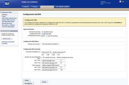 Configuración de servidores DNS y MX en 1&1