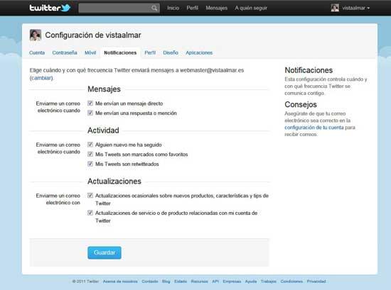 Configuración de notificaciones en Twitter
