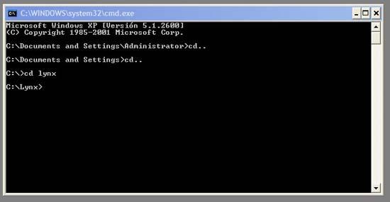 consola comandos DOS