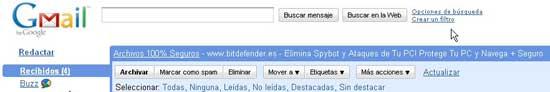 Crear filtro en Gmail para buzz