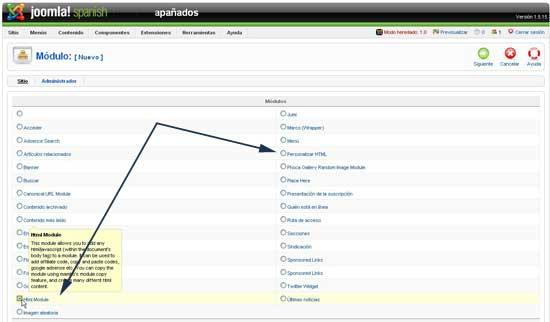 Crear nuevo módulo HTML personalizado Joomla