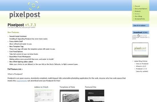 Descargar Pixelpost desde su página principal