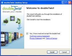 Pantalla de bienvenida de doubleTwist
