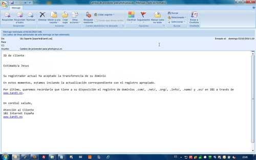Email 1&1 transferencia de dominio aceptada