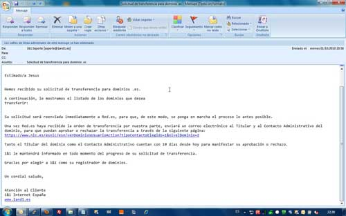 Email 1&1 para transferencia de dominio