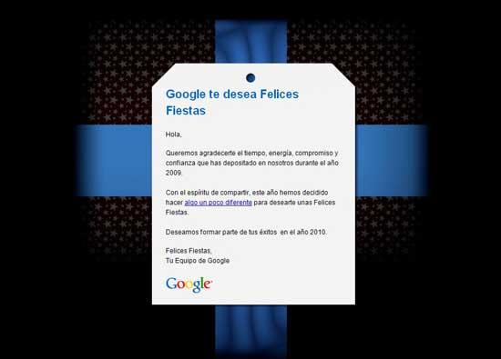 Email Google Felices Fiestas 2009