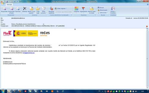 Email transferencia de dominio aceptada
