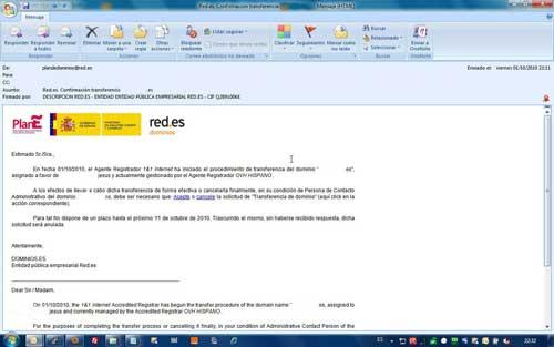 Email de red.es solicitud de transferencia de dominio