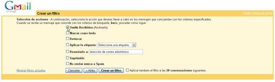 Filtro label Buzz para Gmail