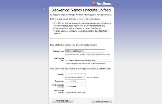 FeedBurner Bienvenida