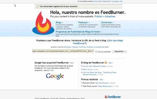 Empieza a usar FeedBurner ahora