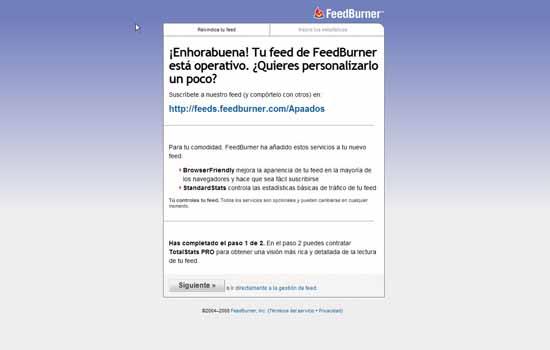 FeedBurner operativo