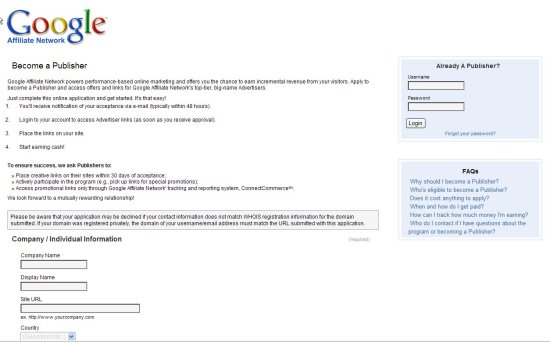 Google Affiliate Network - formulario afiliaciónn