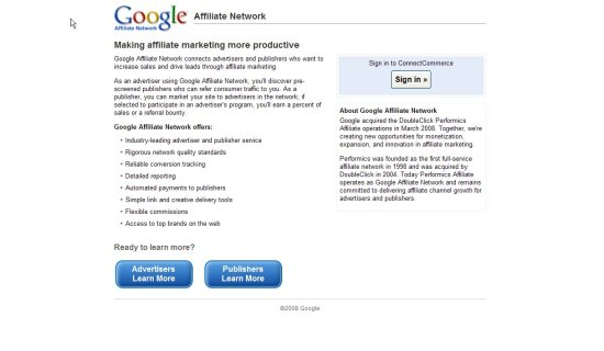 Google Affiliate Network - home