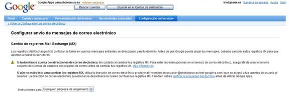 Google Apps instrucciones registros mx