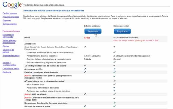 Google Apps comparativa