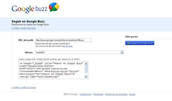 Google Buzz botón seguir