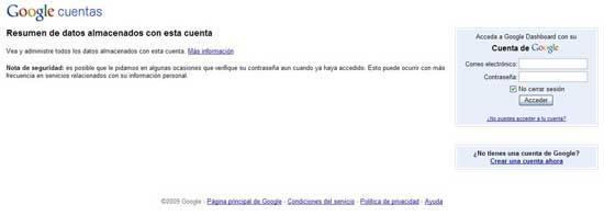 Google Dashboard acceso