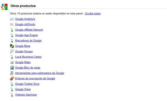 Google Dashboard, otros productos