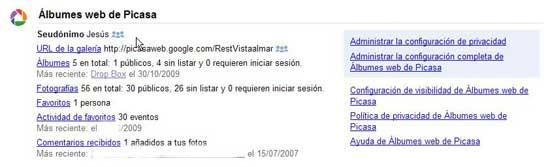 Google Dashboard, Picassa