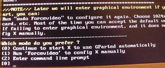 Gparted configuración vídeo