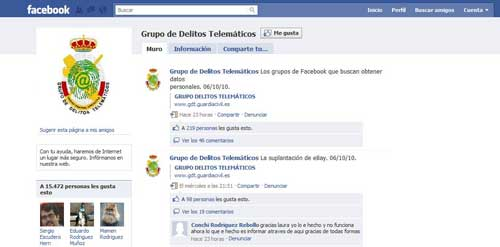 Grupo de Delitos Telemáticos de la Guardia Civil en Facebook