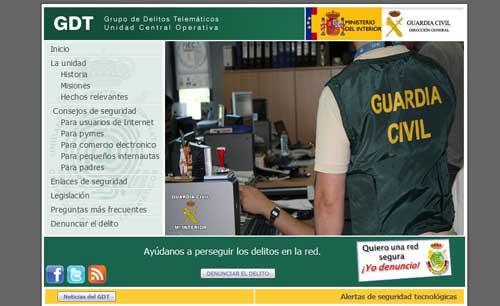 Grupo de Delitos Telemáticos de la Guardia Civil, página principal