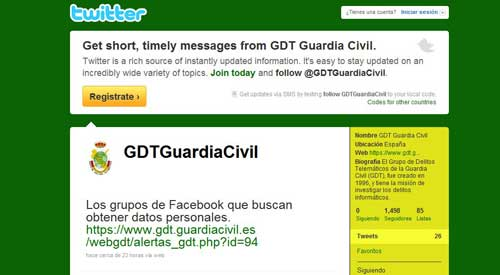 Grupo de Delitos Telemáticos de la Guardia Civil en twitter