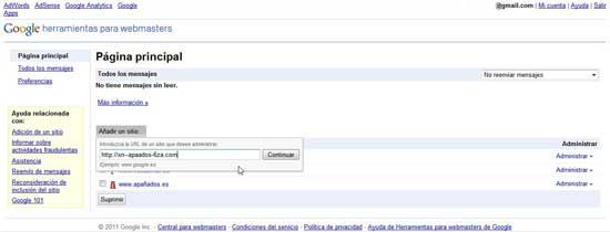 Añadir nuevo sitio en Herramientas para webmaster de Google