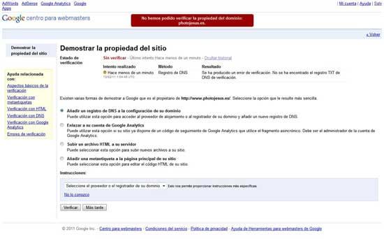 Verificación propiedad sitio DNS error