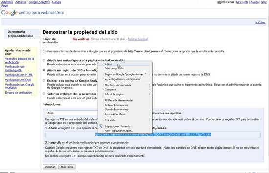Verificación propiedad de sitio Google DNS txt