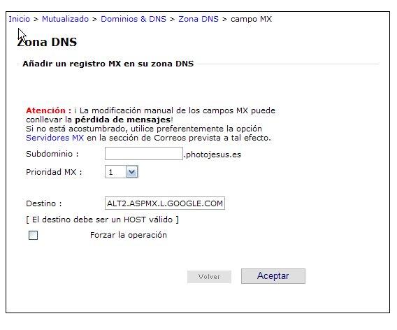 Añadir registro MX