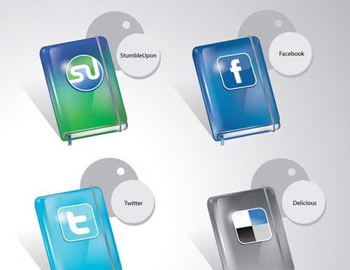 Iconos gratis de Redes Sociales, cuaderno Moleskine