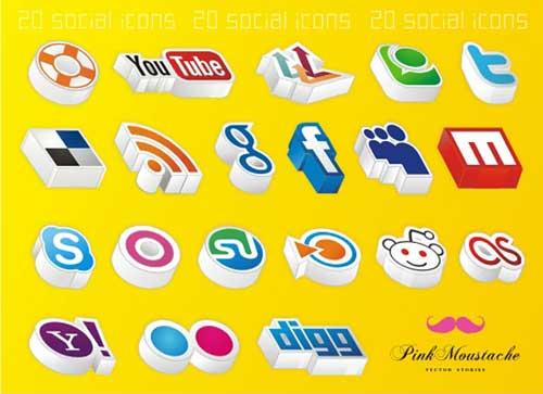 Iconos gratis para Redes Sociales en ángulo 3D
