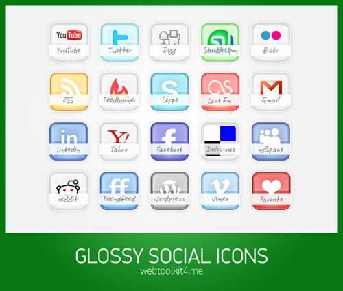 Iconos gratis de Redes Sociales con nombre del servicio en una banda