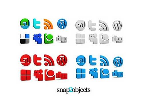 Iconos gratis de Redes Sociales 3D varios colores