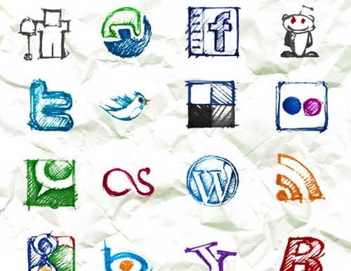 Iconos gratis de Redes Sociales, boceto