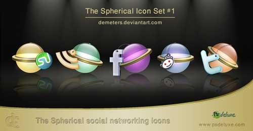 Iconos gratis de Redes Sociales, bolas esféricas transparentes