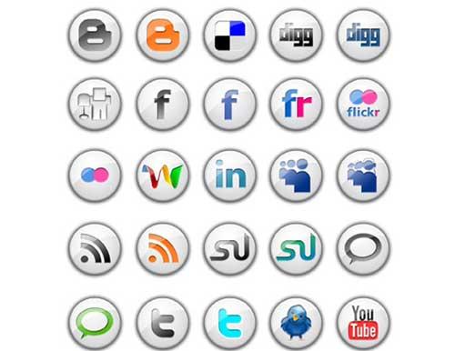 Iconos gratis para Redes Sociales blancos con logo en relieve