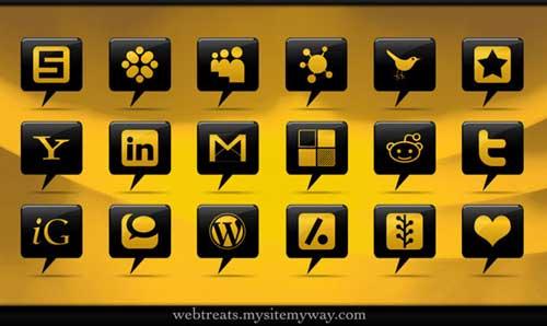 Iconos para Redes Sociales bocados de comic negro y amarillo