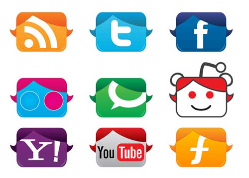 Iconos gratis de Redes Sociales, cabezas cuadradas
