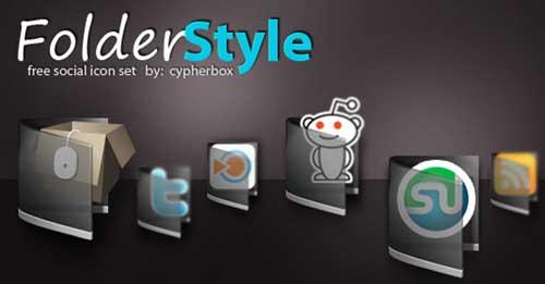 Iconos gratis de Redes Sociales, carpetas transparentes