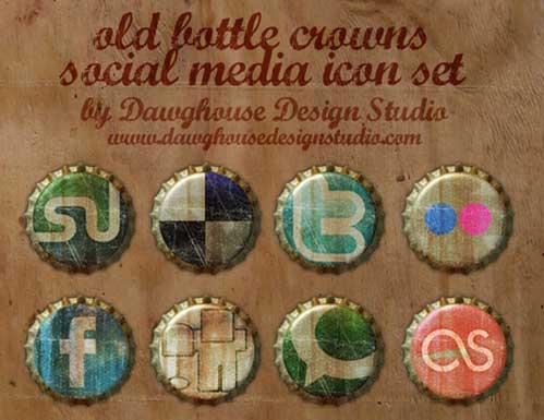 Iconos gratis de Redes Sociales en forma de chapas viejas