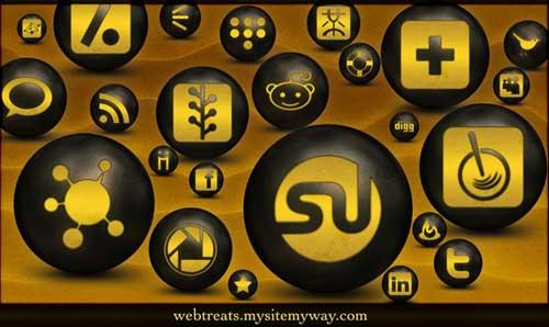 Iconos gratis de Redes Sociales en color bronce